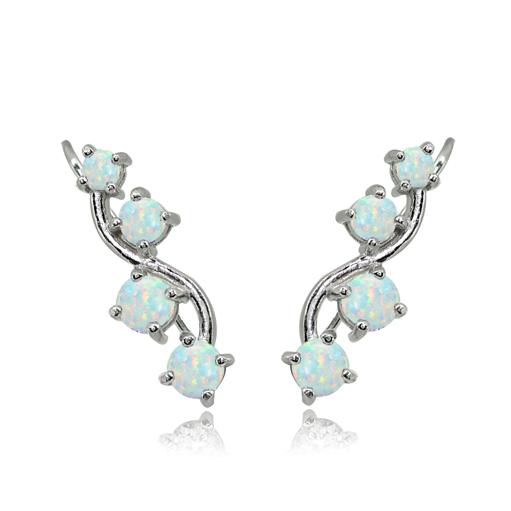 silver ear crawler sterling silver ear climber with blue opal silver ear pin opal ear cuff blue opal ear crawler opal ear climber