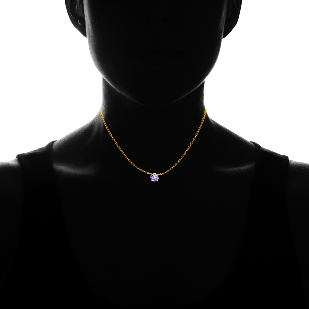 Dainty Round Amethyst Choker Necklace in Gold Plated 925 Silver