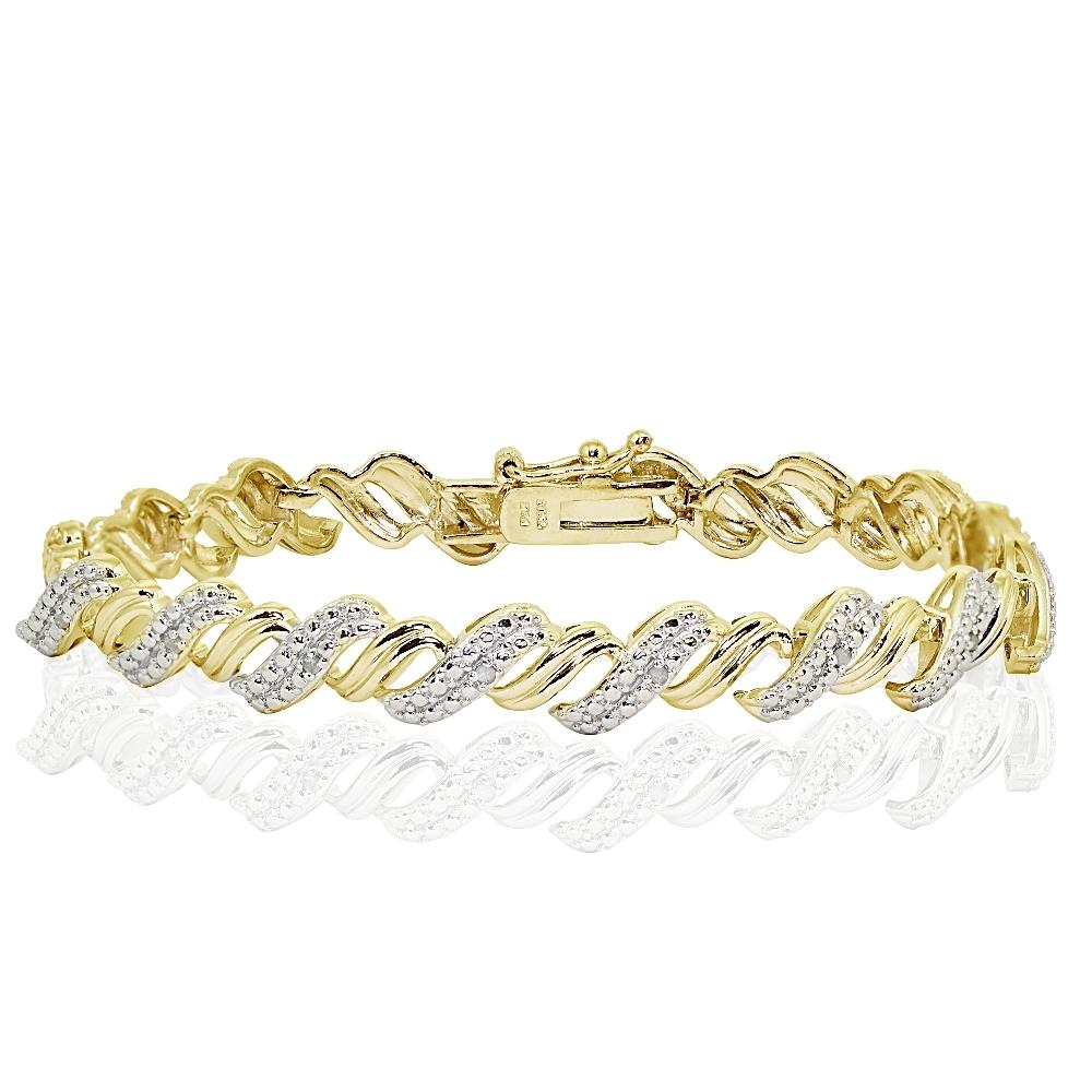 1ct TDW Diamond San Marco Tennis Bracelet Gold Tone