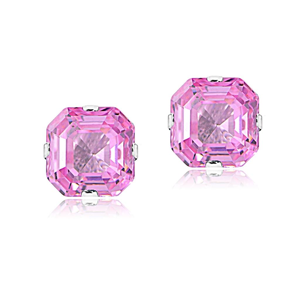 Sterling Silver 6mm Cher Cut Light Pink Cubic Zirconia Stud Earrings