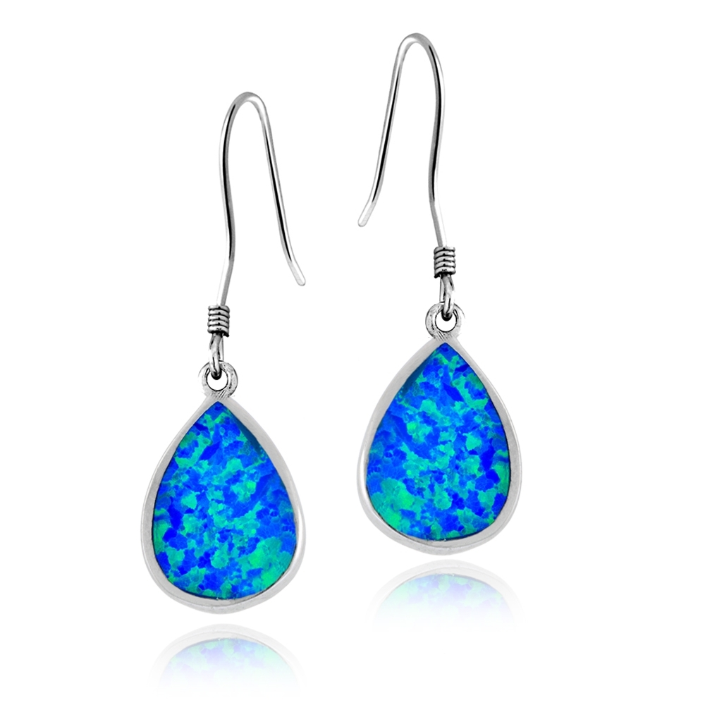 Blue Sodalite Gemstone Tear Drop Statement Pair of Dangle Earrings with Silver Plated Hooks # 336