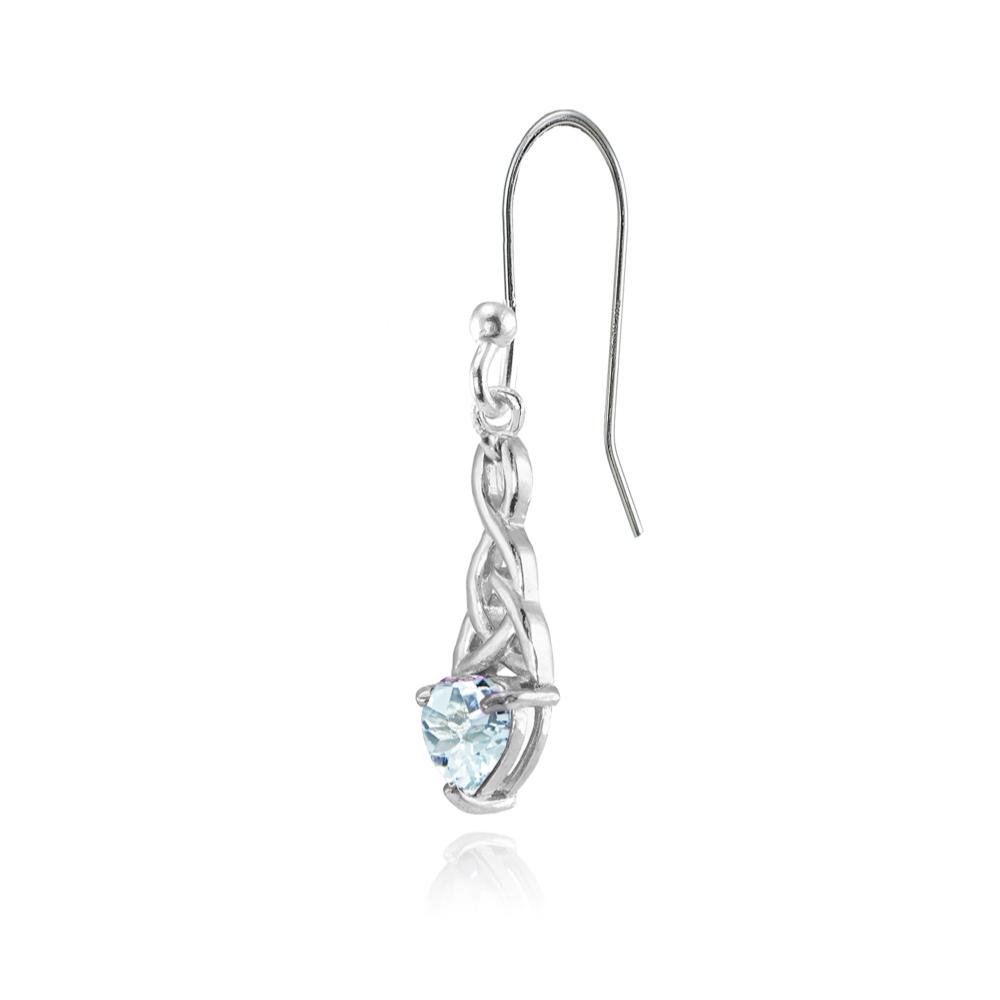 Dainty 6x6mm cœur topaze bleue Celtic Knot Dangle Boucles d/'oreilles en argent sterling