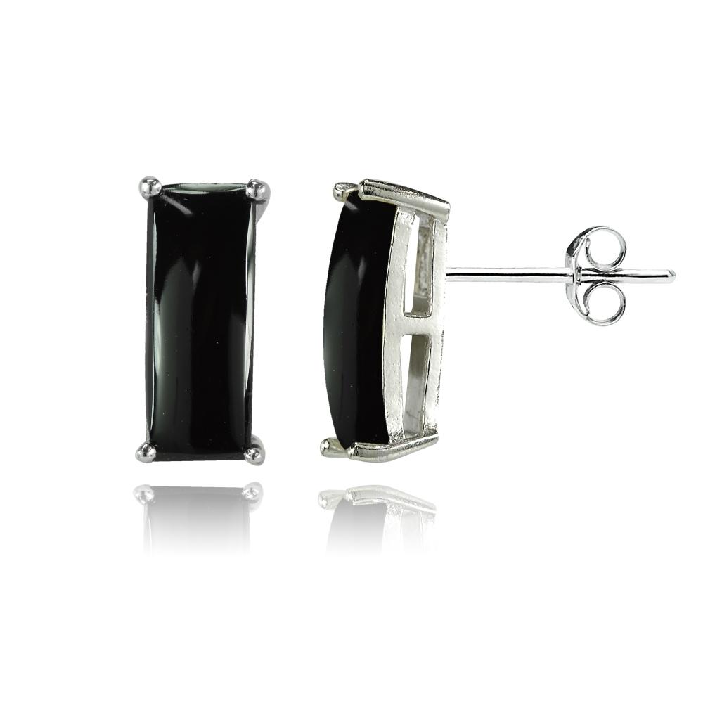 Baguette Simulated Onyx Stud Earrings In Sterling Silver