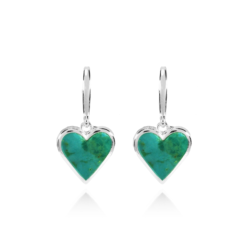 ff301ea65 Sterling Silver Simulated Turquoise Heart Dangle Earrings ...