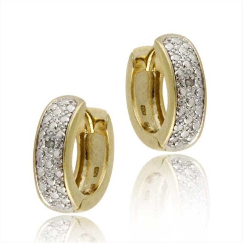18k Gold Plated Silver Diamond Accent Huggie Hoop Earrings
