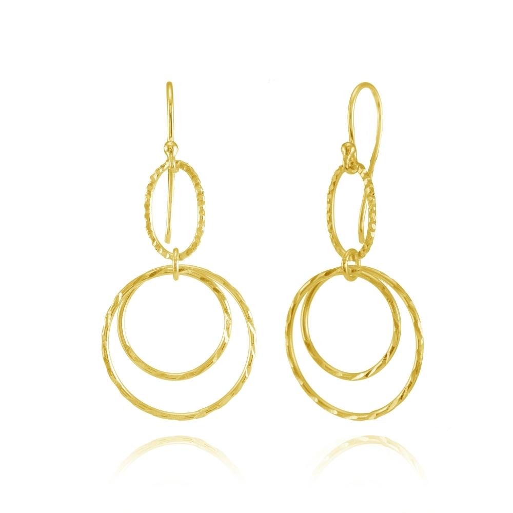 Gold Tone Moving Oval Dangle Drop Earrings