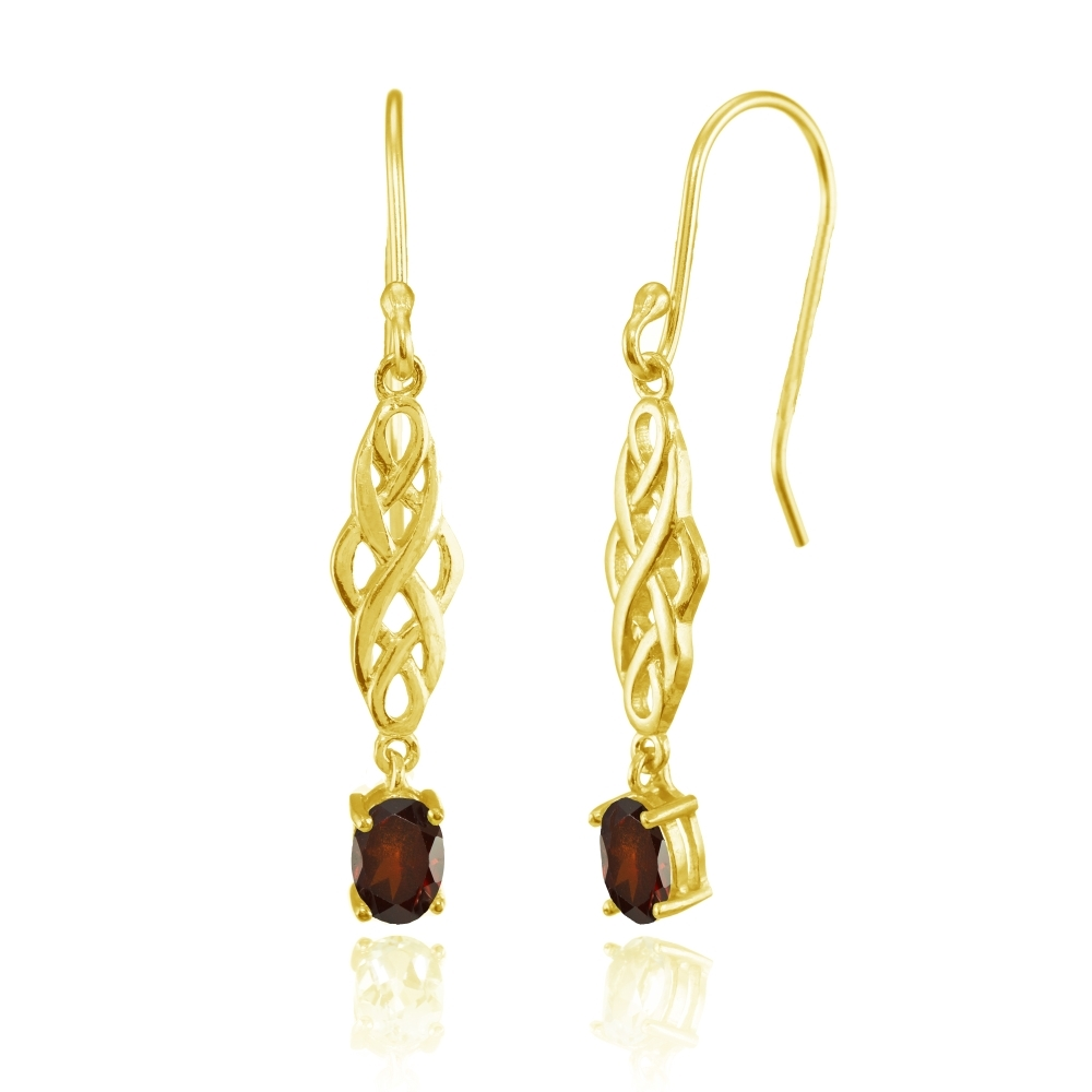 f562ea96a Details about Oval African Garnet Celtic Knot Drop Dangle Earrings in Gold  Plated 925 Silver