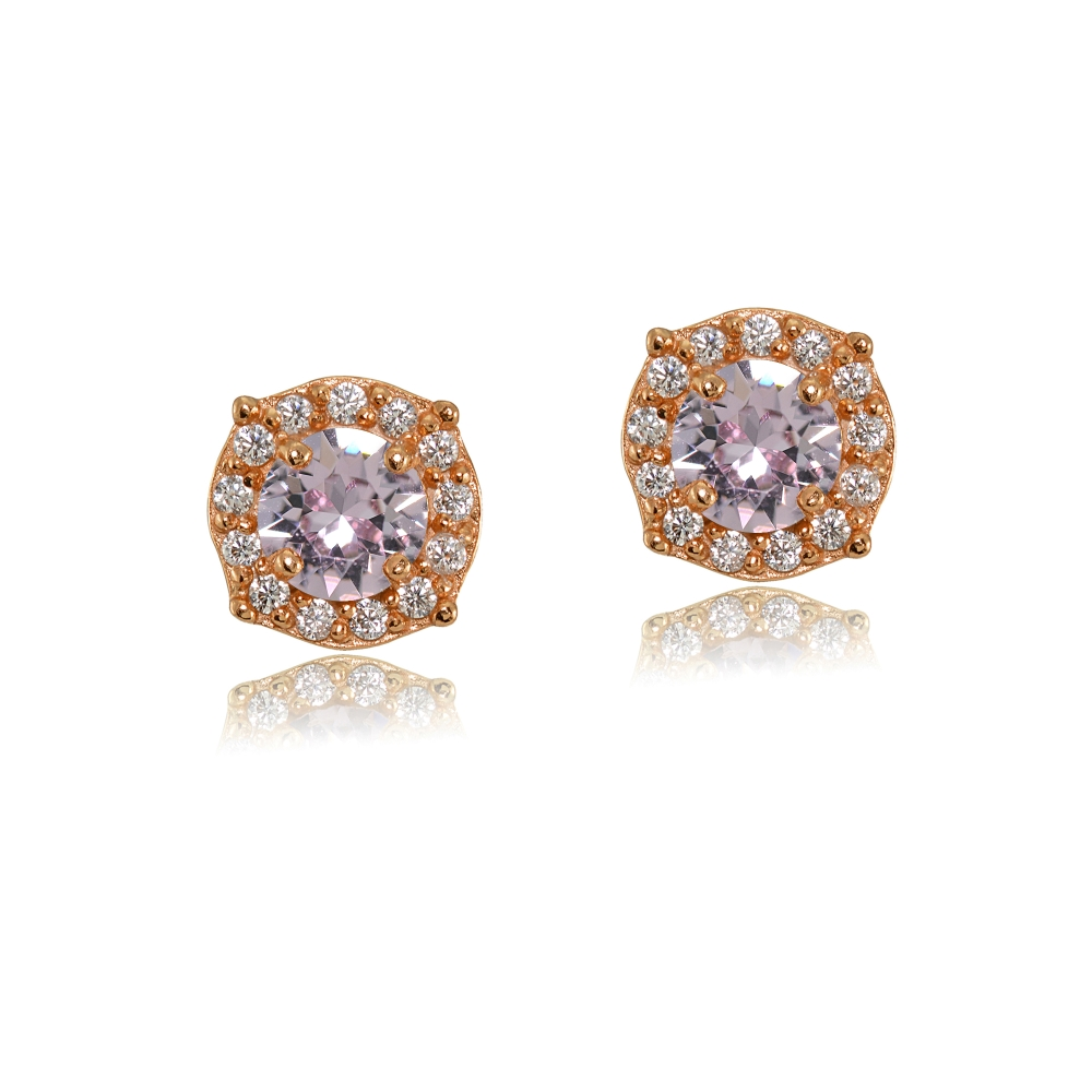 Details About Pink Halo Stud Earrings Made With Swarovski Crystals In Rose Gold Plated Silver
