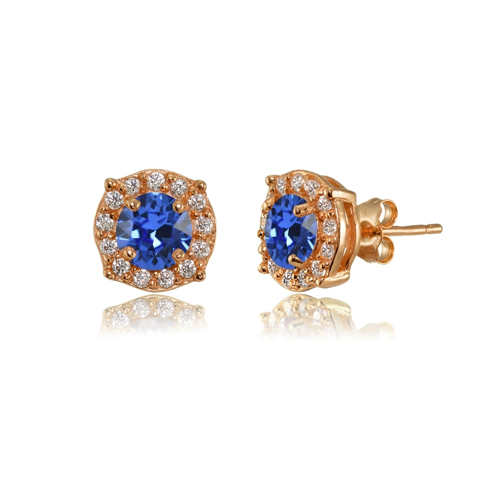 Details About Blue Halo Stud Earrings Made With Swarovski Crystals In Rose Gold Plated Silver