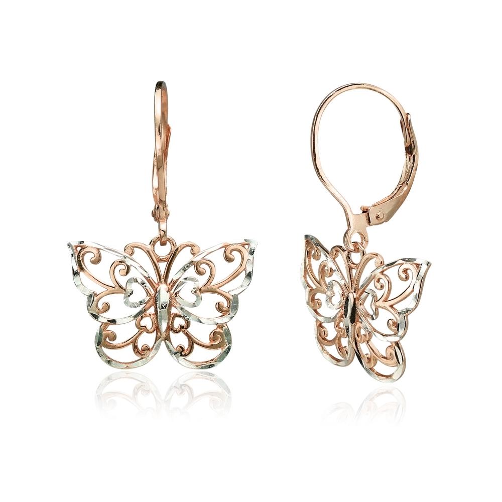 shiny gold or matte gold butterfly earrings 2pc 18k gold over 925 sterling silver butterfly earings component Vermeil butterfly earrings