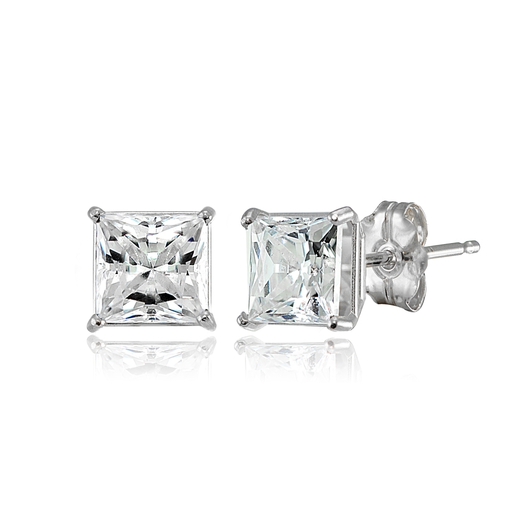 05353115a Details about Princess-cut 5mm Stud Earrings Made with Swarovski Zirconia  in 14K White Gold