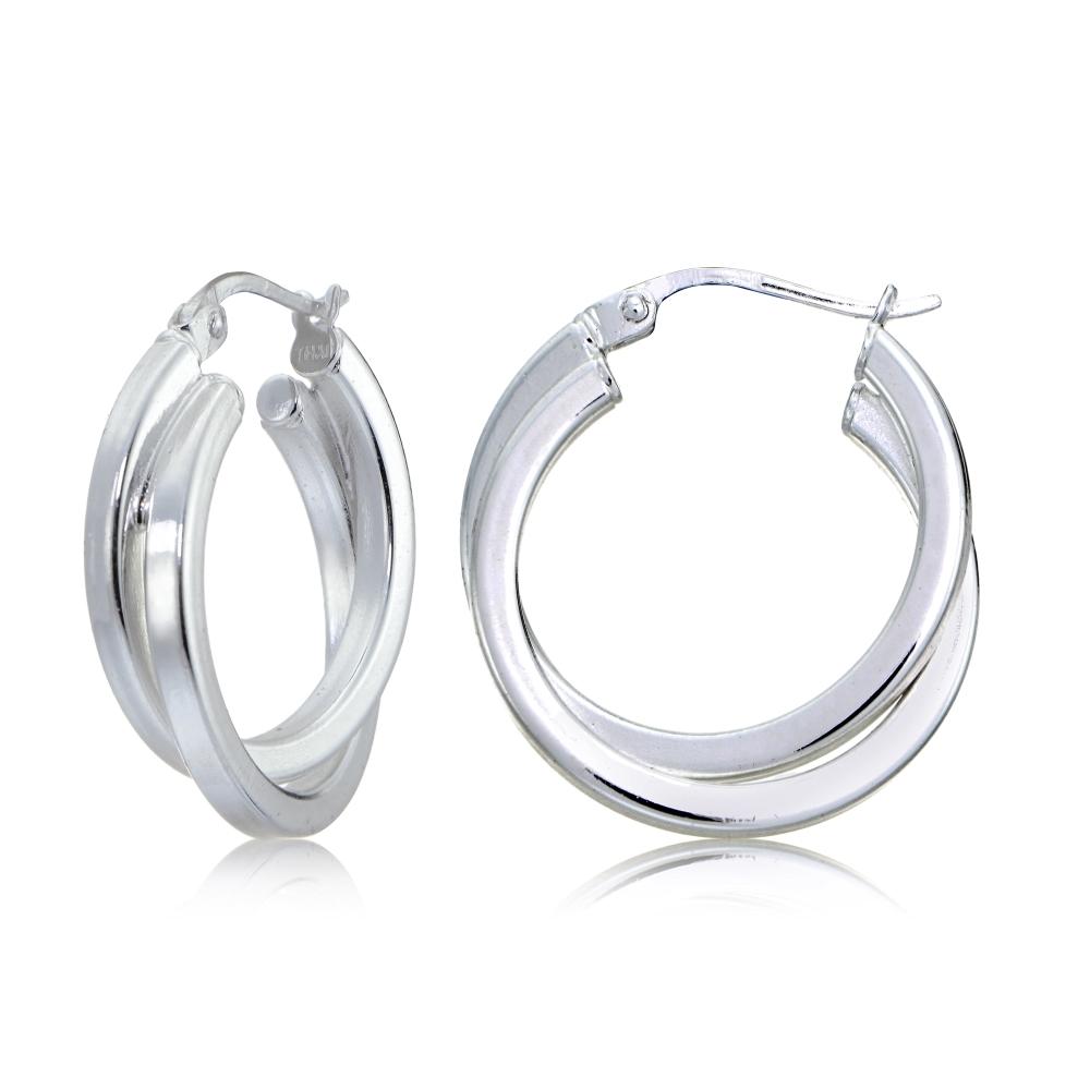 20mm Sterling Silver Triple Circle Round Tube Polished Hoop Earrings