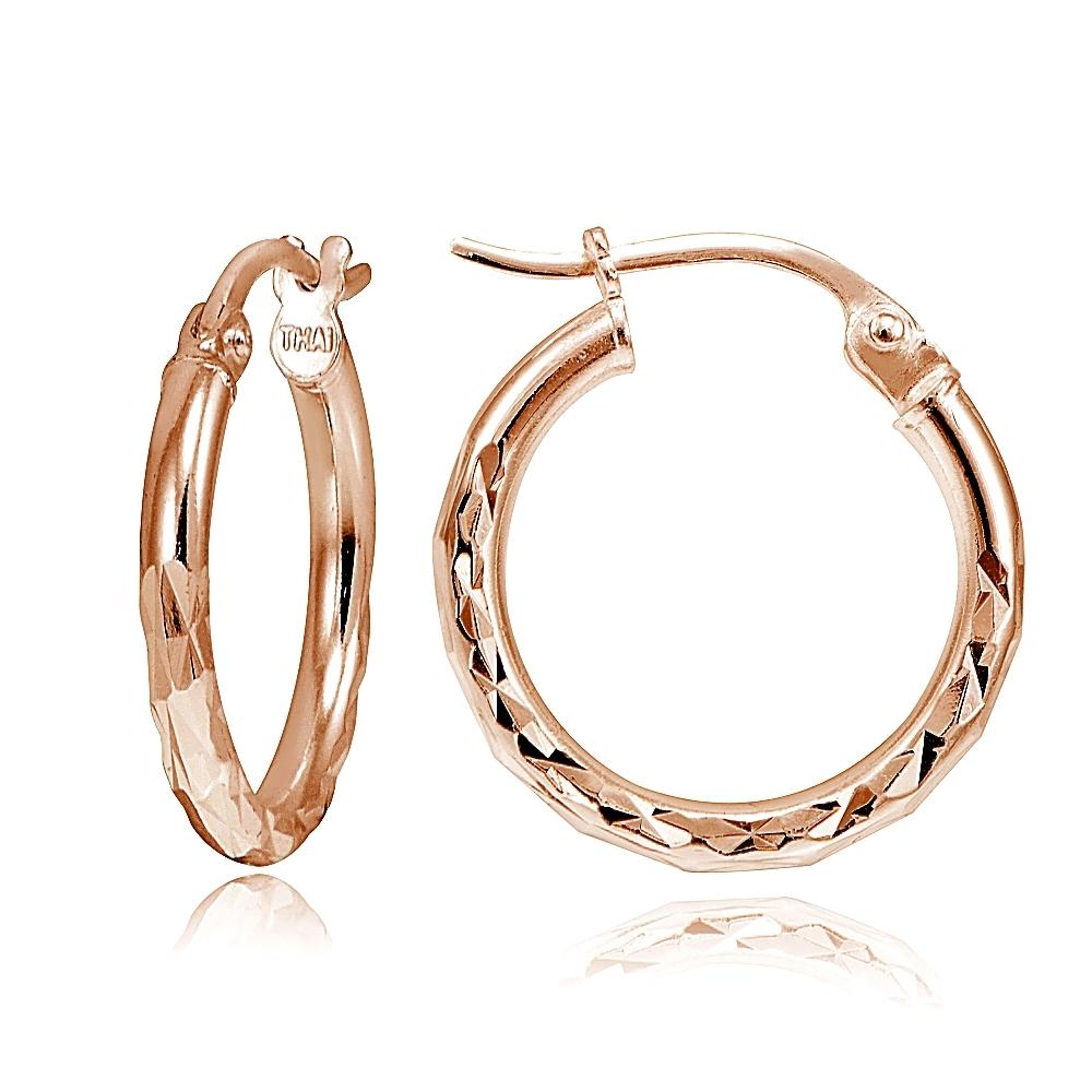 Rose Gold Plated Sterling Silver Diamond Cut Sleeper 8-20mm Hoop Earrings