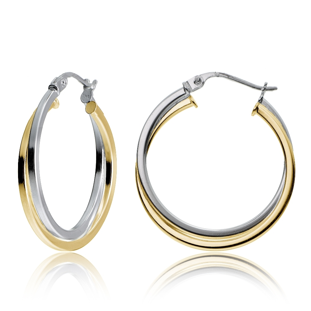 Gold Tone Over Sterling Silver Two Intertwining Square Polished Hoop Earrings 25mm