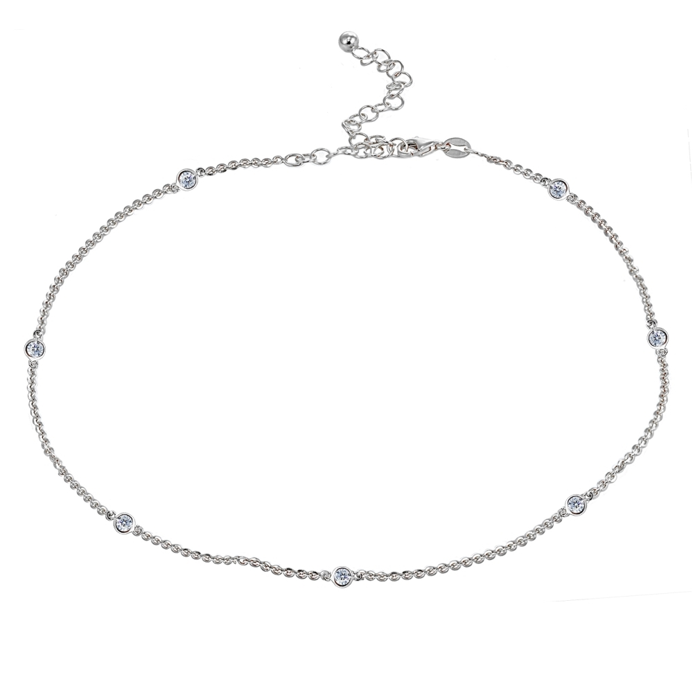 983ab197fdb3d Details about Dainty CZ Station Chain Choker Necklace in Sterling Silver