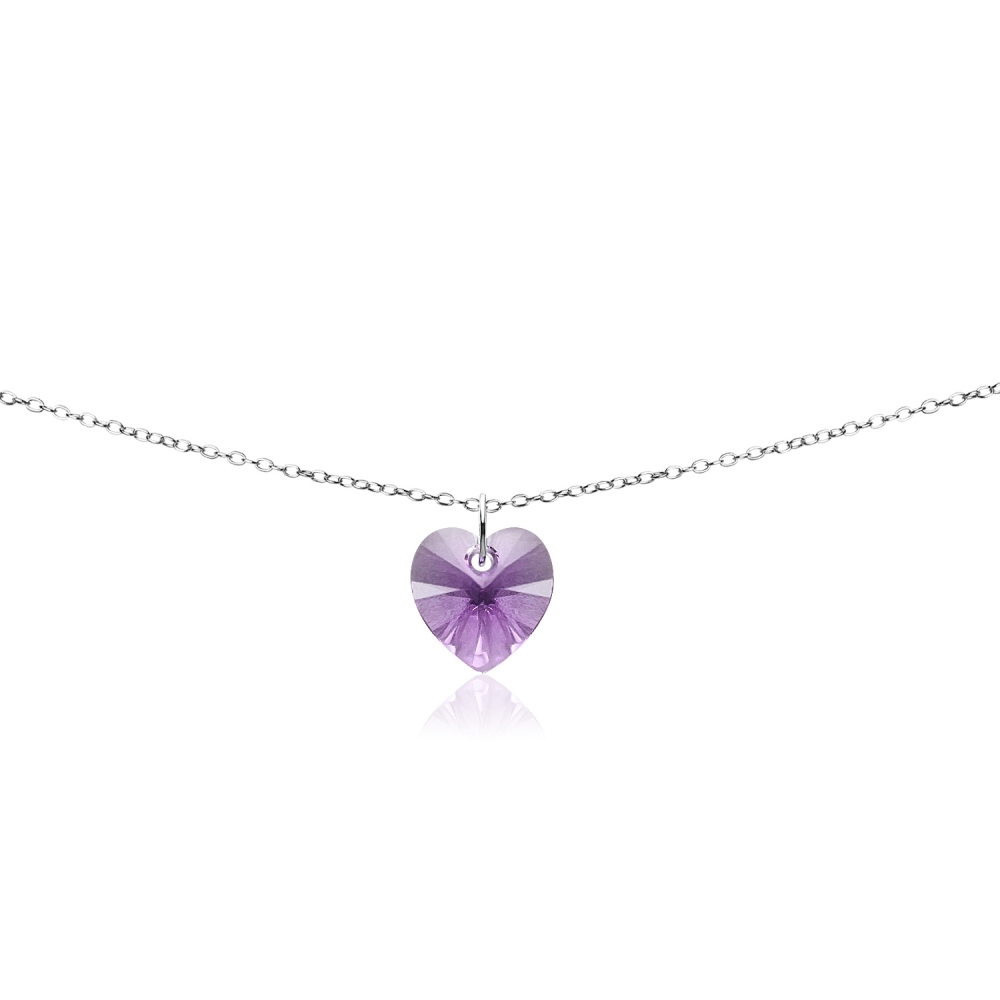 fc60db78919b0 Details about Sterling Silver Purple Heart Choker Necklace Made with  Swarovski Crystals