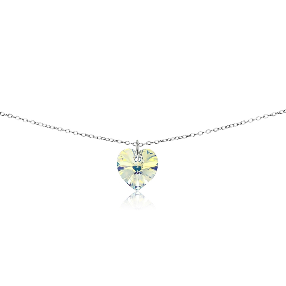""".925 Sterling Silver Aurora Borealis Rainbow Crystal Cresent Moon Necklace 18/"""""""