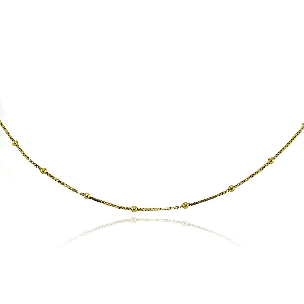 Station perles italien Boîte Chaîne Collier Tour de cou en plaqué or rose argent 925
