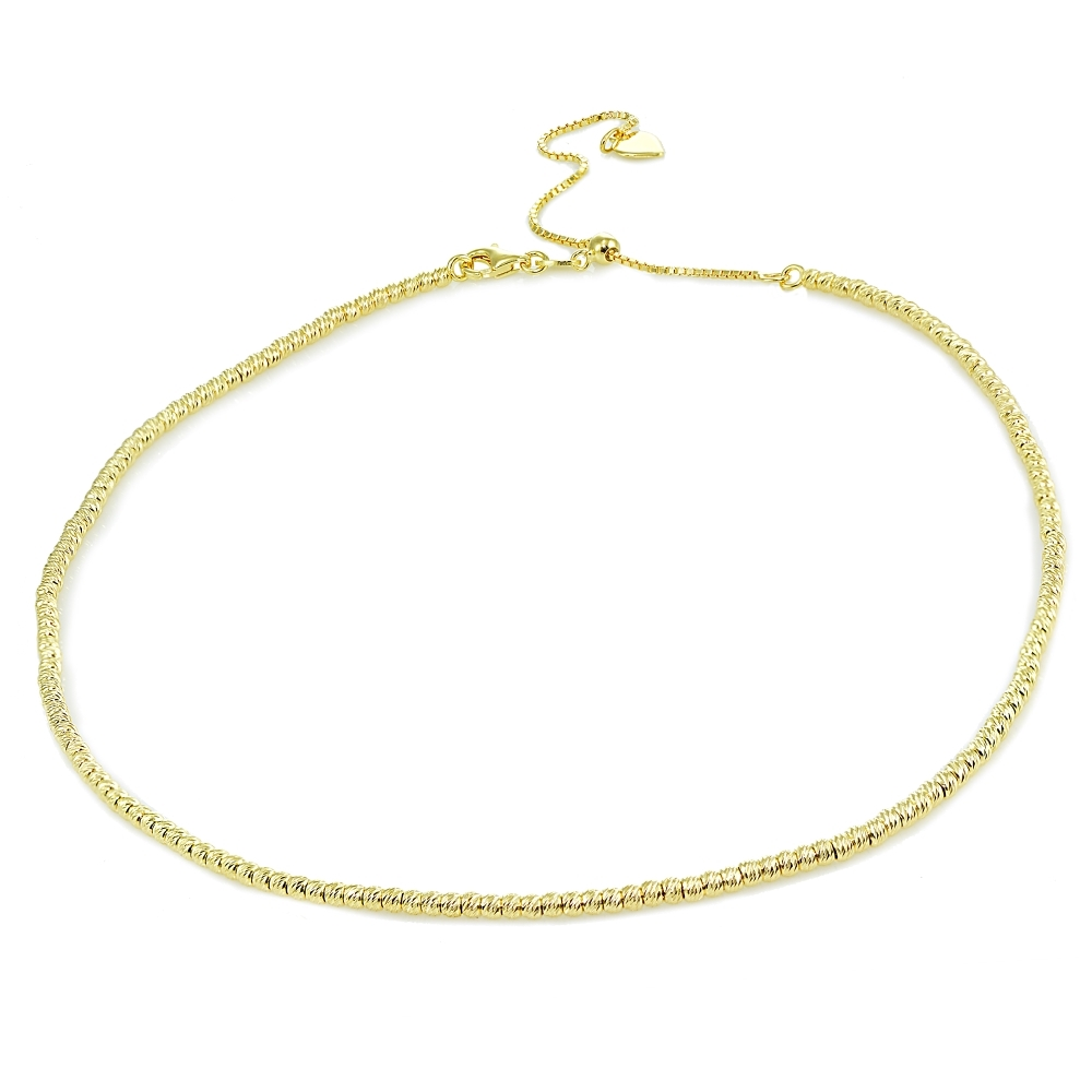 10d36a9d2e63 Details about Diamond-Cut Beads Adjustable Italian Chain Choker Necklace in Gold  Plated Silver