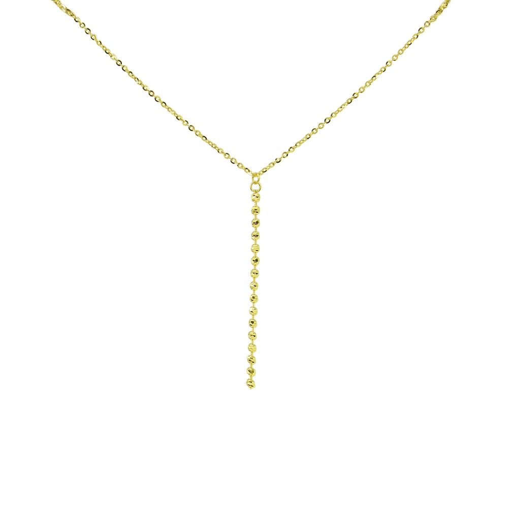 28 inches 14k Yellow White and Rose Gold Tri-Color Diamond Cut Sliding Beads Adjutable Lariat Necklace