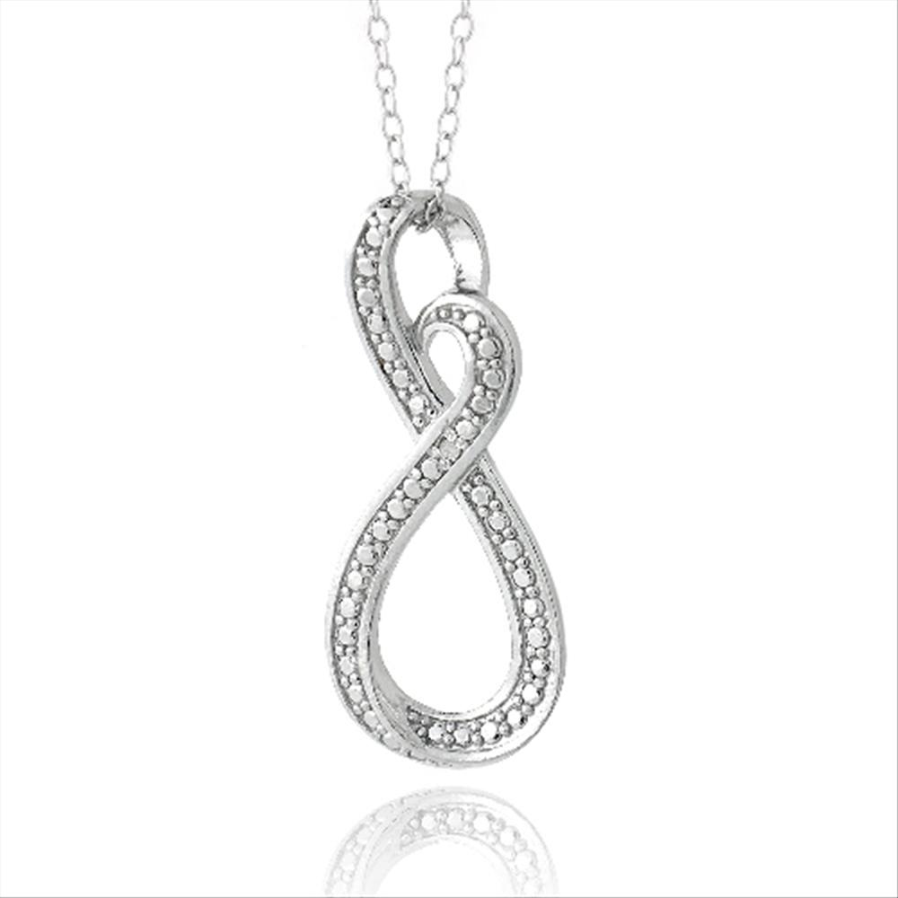"""925 Silver Diamond Accent Infinity Chain Necklace 18/"""""""
