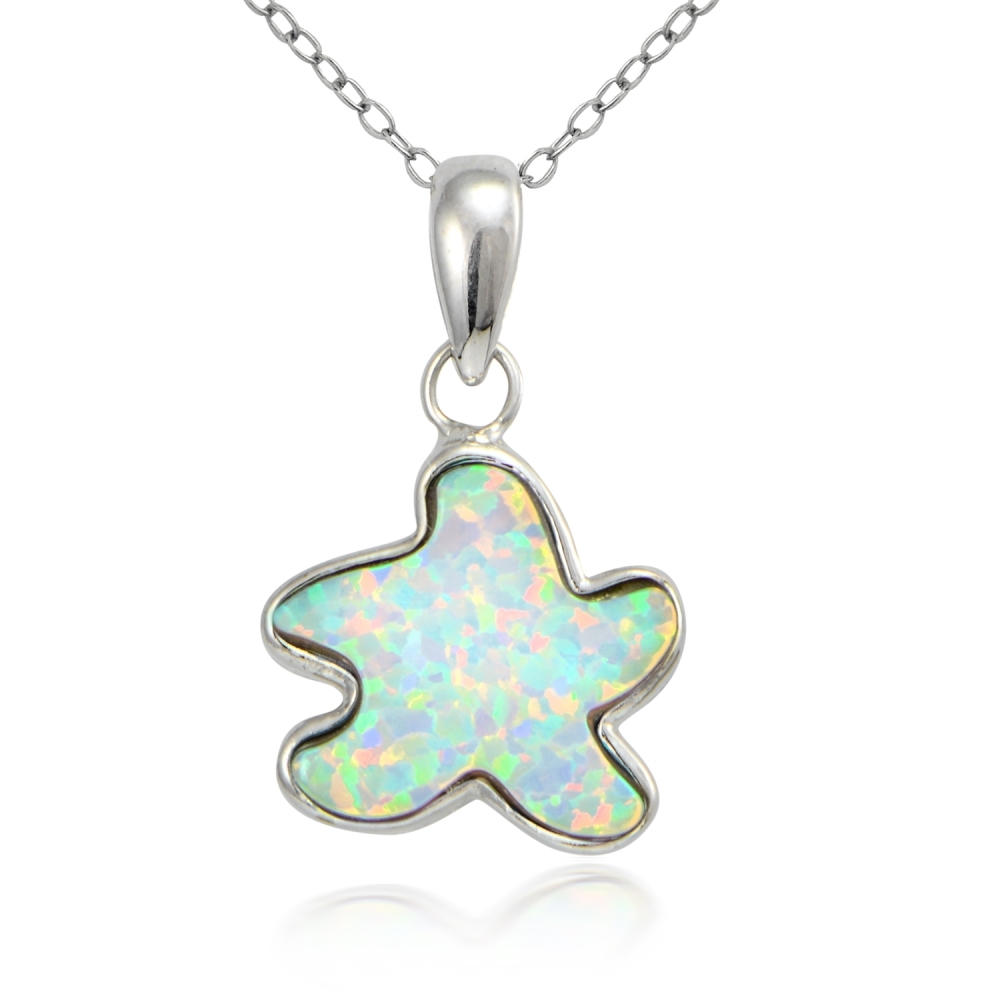 Created Blue Opal Starfish Garland Necklace in Sterling Silver
