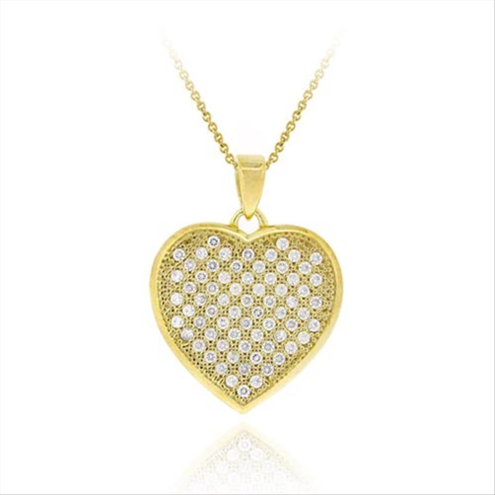 6e3d293ce Gold Tone Over 925 Silver Cz Micro Pave Heart Pendant 18