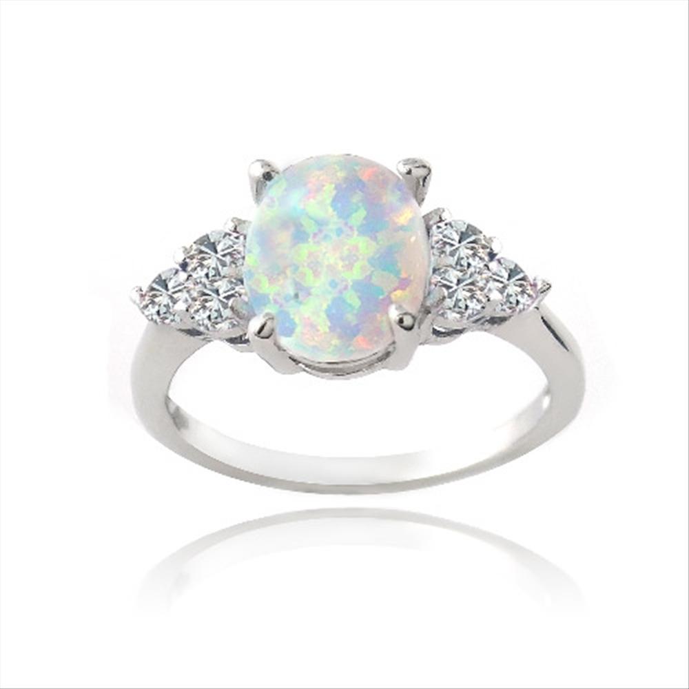 925er silber erzeugt wei en opal wei er saphir ovaler ring ebay. Black Bedroom Furniture Sets. Home Design Ideas