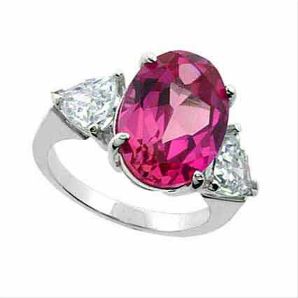 925 Silver Created Pink Sapphire Oval & CZ Triangles Ring Size 6   eBay