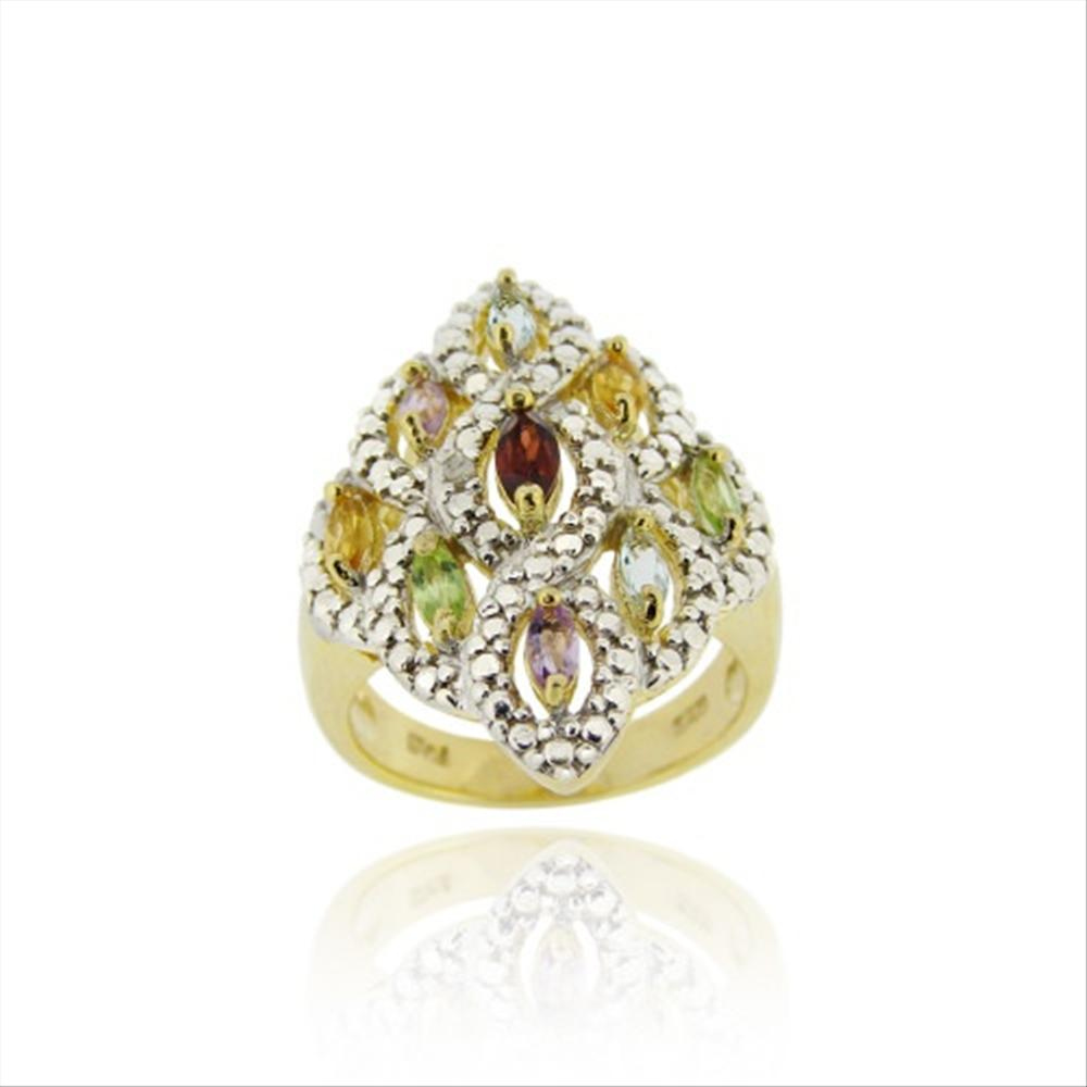 gold ber 925er silber multi edelstein diamant akzent rautenf rmige ring ebay. Black Bedroom Furniture Sets. Home Design Ideas