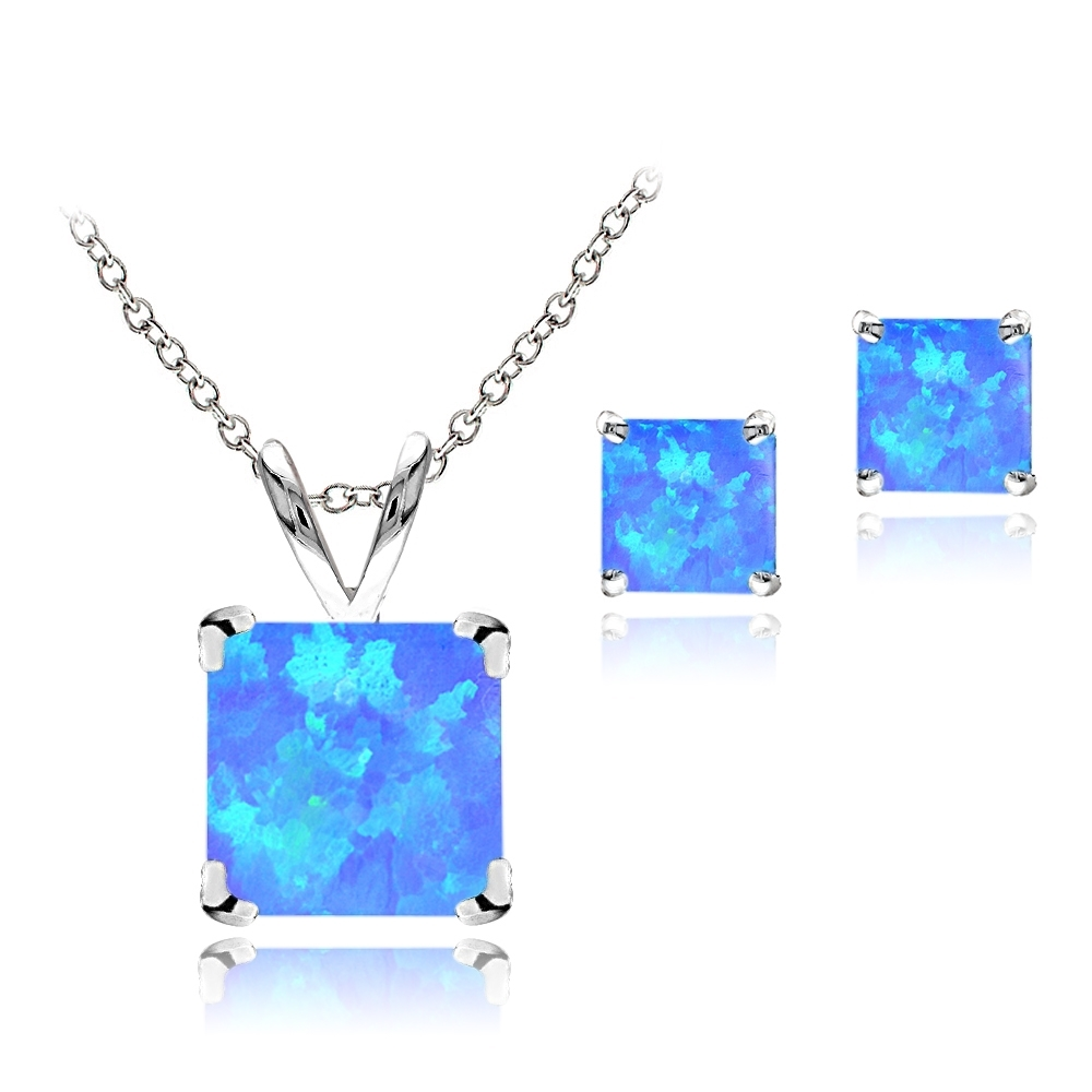Solitaire Square Pendant Blue Simulated Topaz .925 Sterling Silver Charm