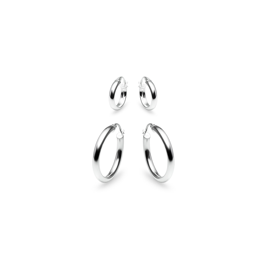 8649e6705 2 Pair Set 3mm Small Polished Round Hoop Earrings in Sterling Silver, 15mm  25mm. Click Thumbnails to Enlarge