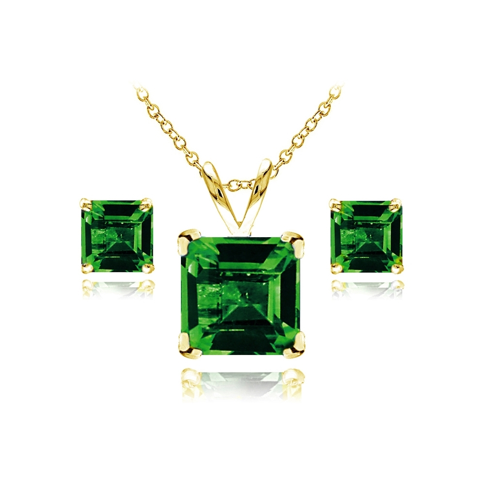 Square Simulated Emerald Necklace And Earrings Set In Gold Plated Silver