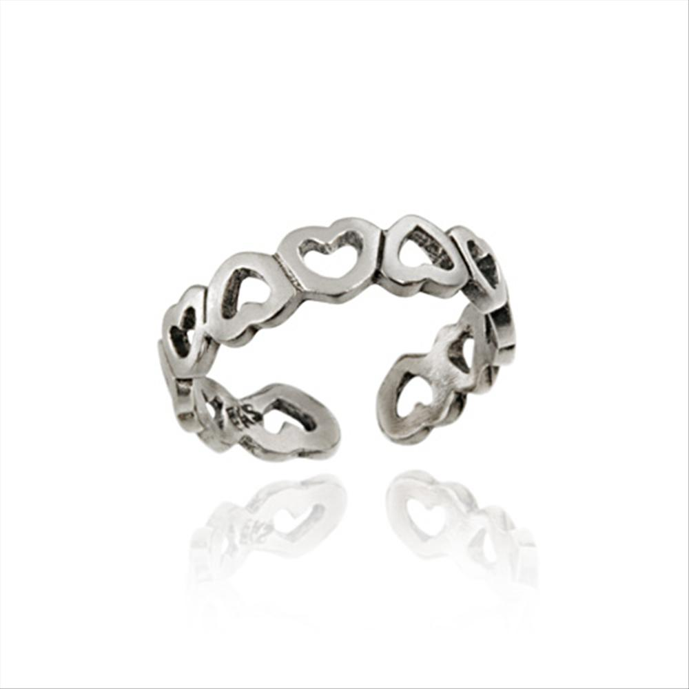 925 Silver Filigree Open Hearts Toe Ring