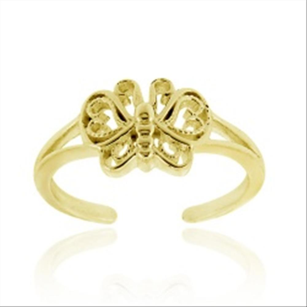 Toe Ring Sterling Silver Butterfly Flower accent CZs