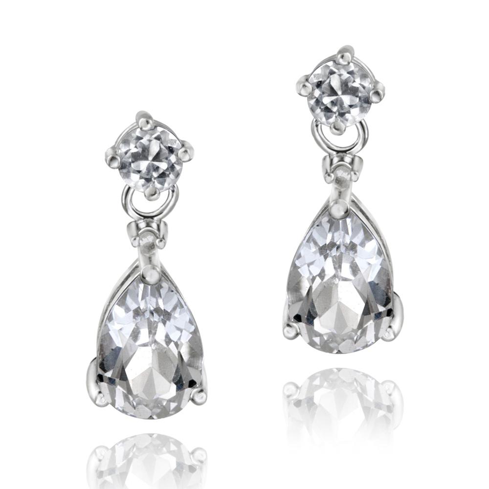 925 Silver 3 6ct White Topaz Diamond Accent Teardrop Earrings