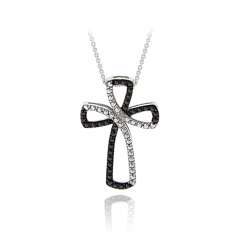 "18/"" Black Diamond Accent Cross Ribbon Necklace"